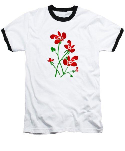Rooster Flowers Baseball T-Shirt
