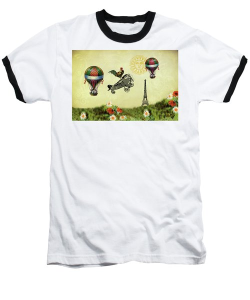 Rooster Flying High Baseball T-Shirt by Peggy Collins
