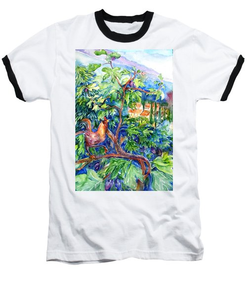 Rooster In A Fig Tree, Tuscany   Baseball T-Shirt