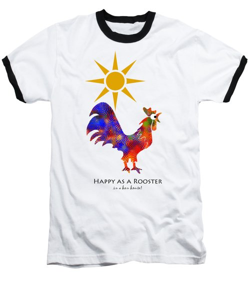Rooster Pattern Art Baseball T-Shirt