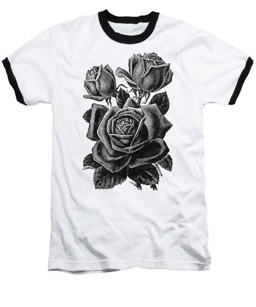 Baseball T-Shirt featuring the digital art Rose Black by ReInVintaged