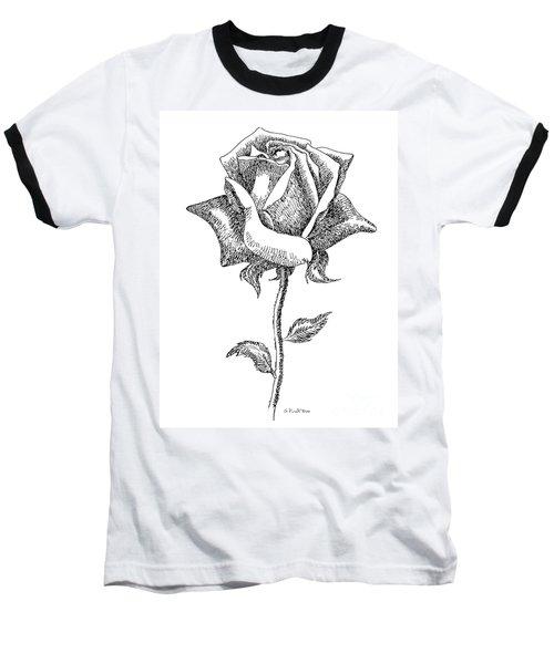 Rose Drawings Black-white 5 Baseball T-Shirt