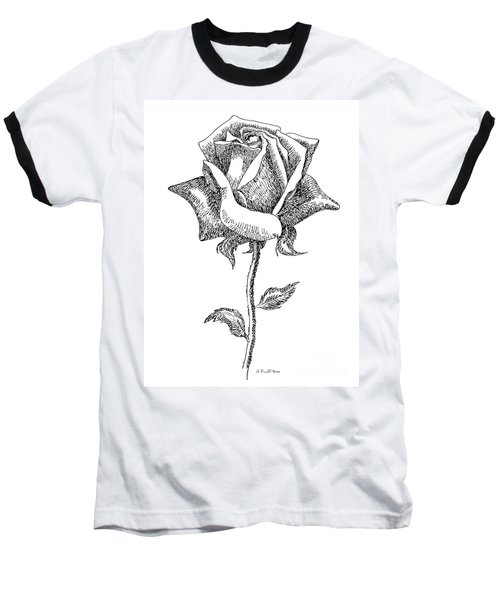 Rose Drawings Black-white 5 Baseball T-Shirt