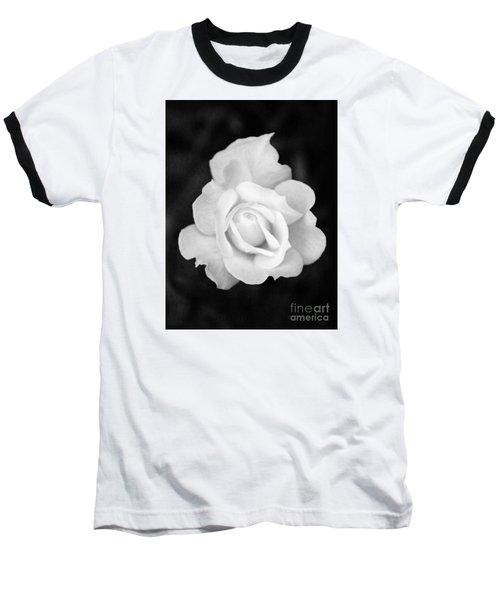 Rose In Black And White Baseball T-Shirt