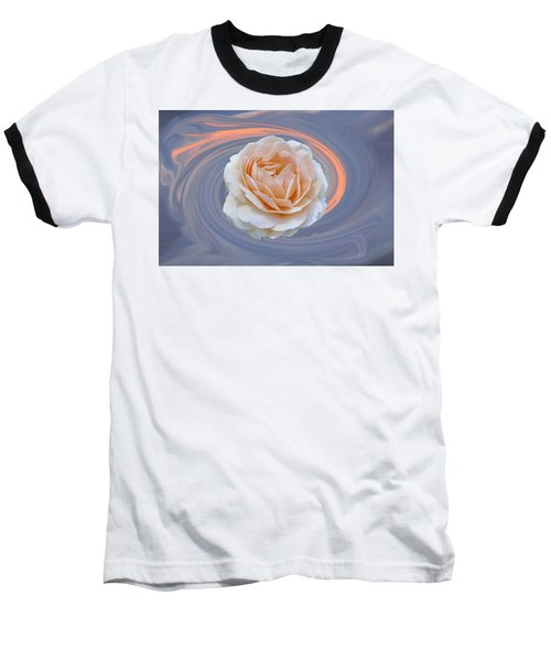 Rose In Swirl Baseball T-Shirt