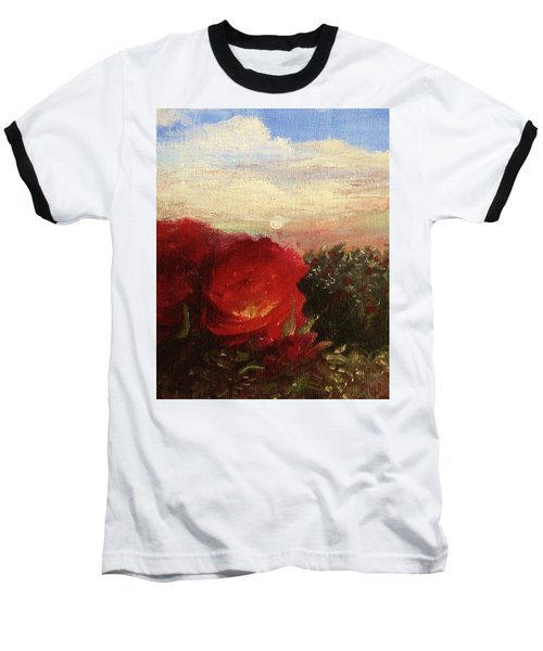 Baseball T-Shirt featuring the painting Rosebush by Mary Ellen Frazee