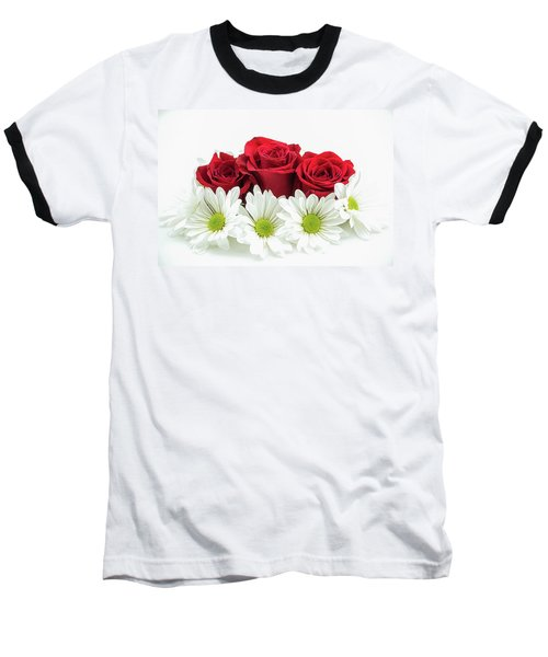 Roses And Daisies Baseball T-Shirt