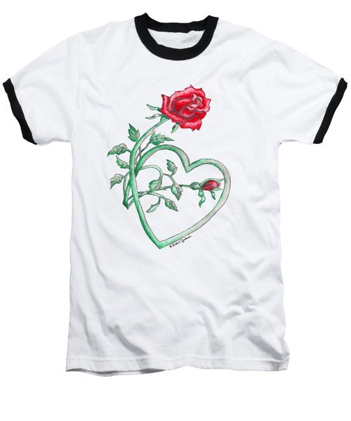 Roses Hearts Lace Flowers Transparency       Baseball T-Shirt