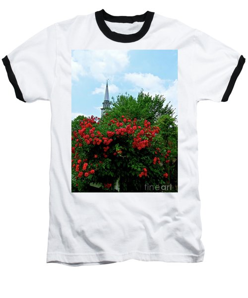 Roses On The Fence In Mauricetown Baseball T-Shirt by Nancy Patterson