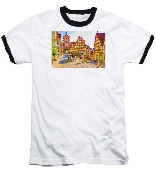 Rothenburg Little Square Baseball T-Shirt by Dennis Cox WorldViews