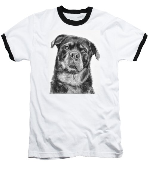 Rottweiler Drawing Titled Mama Baseball T-Shirt by Kate Sumners