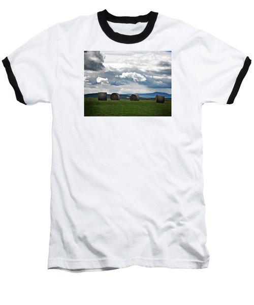 Round Bales Under A Cloudy Sky Baseball T-Shirt