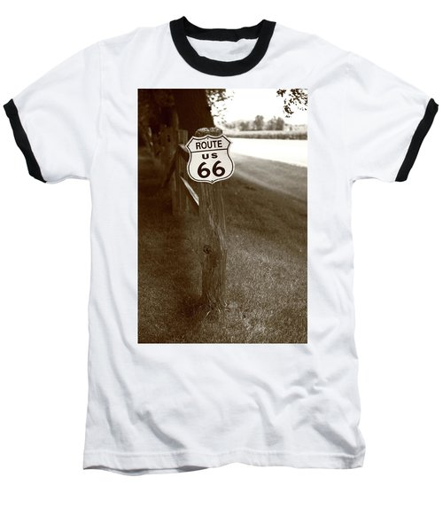 Baseball T-Shirt featuring the photograph Route 66 Shield And Fence Sepia Post by Frank Romeo