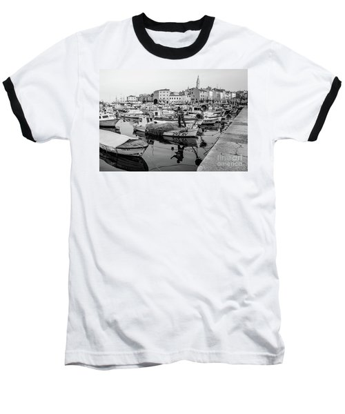 Rovinj Fisherman Working In Old Town Harbor - Rovinj, Istria, Croatia Baseball T-Shirt