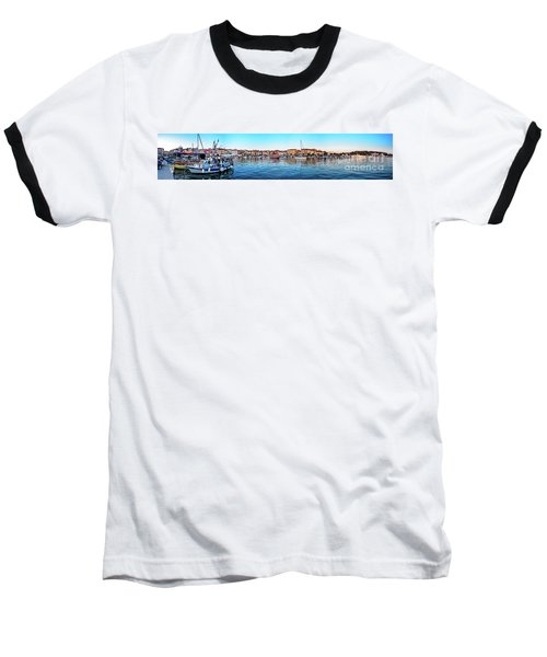 Rovinj Harbor And Boats Panorama Baseball T-Shirt