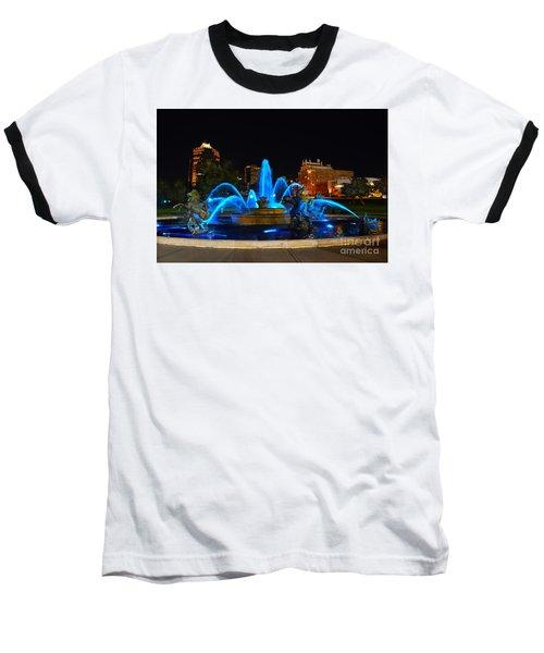 Royal Blue J. C. Nichols Fountain  Baseball T-Shirt by Catherine Sherman