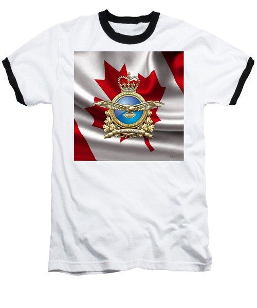 Royal Canadian Air Force Badge Over Waving Flag Baseball T-Shirt by Serge Averbukh