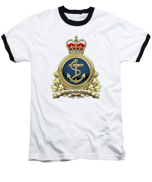 Baseball T-Shirt featuring the digital art Royal Canadian Navy  -  R C N  Badge Over White Leather by Serge Averbukh