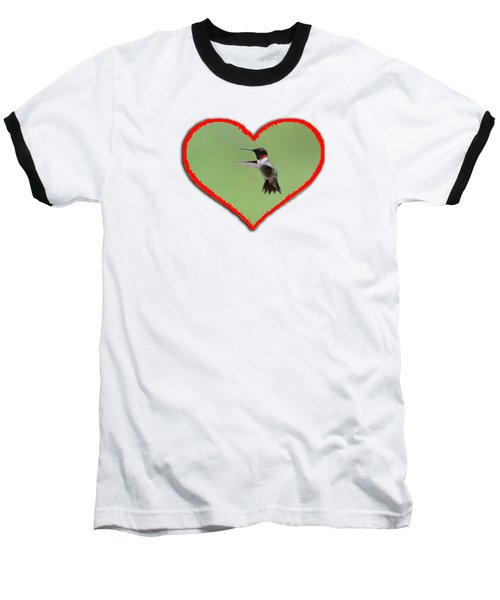 Ruby-throated Hummingbird In Heart Baseball T-Shirt by Dan Friend