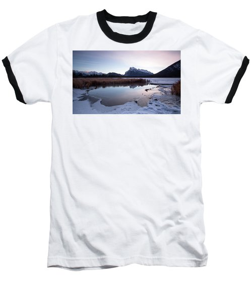 Rundle Mountain Reflections Baseball T-Shirt