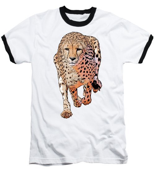 Running Cheetah Cartoonized #1 Baseball T-Shirt