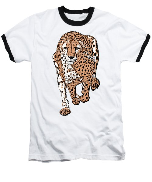 Running Cheetah Cartoonized #2 Baseball T-Shirt
