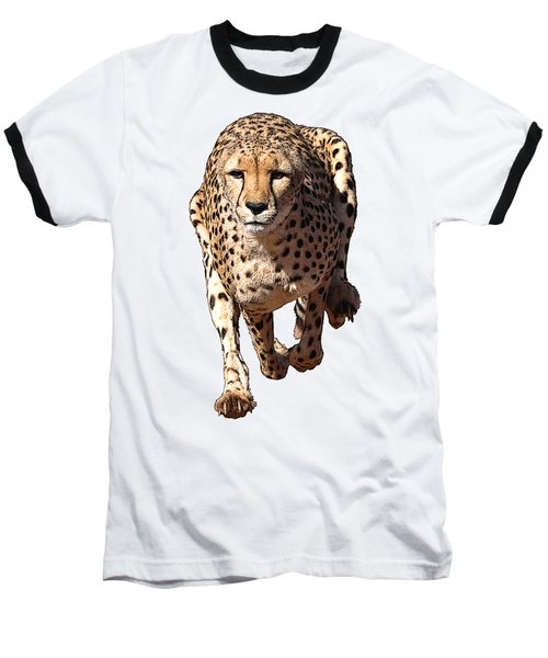 Running Cheetah Cartoonized #3 Baseball T-Shirt