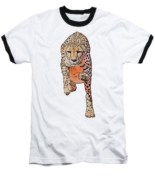 Running Cheetah, Isolated On White Background, Cartoonized Style #1 Baseball T-Shirt