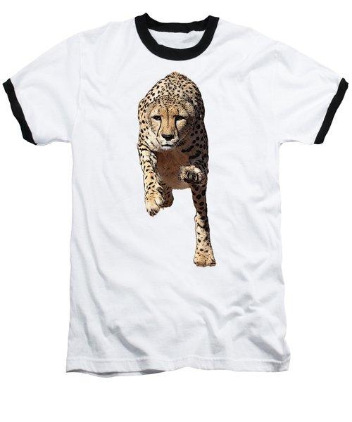Running Cheetah, Isolated On White Background, Cartoonized Style #2 Baseball T-Shirt