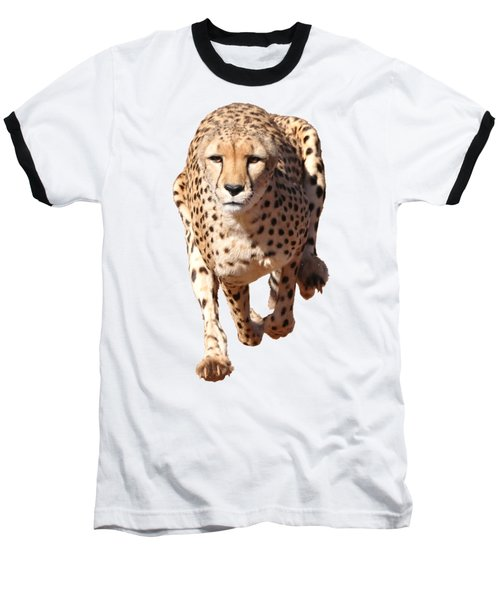 Running Cheetah, Transparent Background Baseball T-Shirt