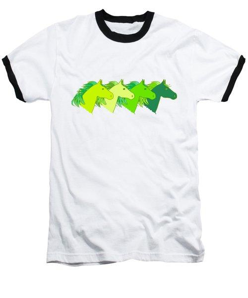 Running Horse Lime Baseball T-Shirt by Alexsan