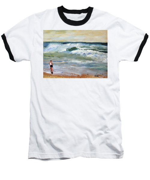 Running The Beach Baseball T-Shirt