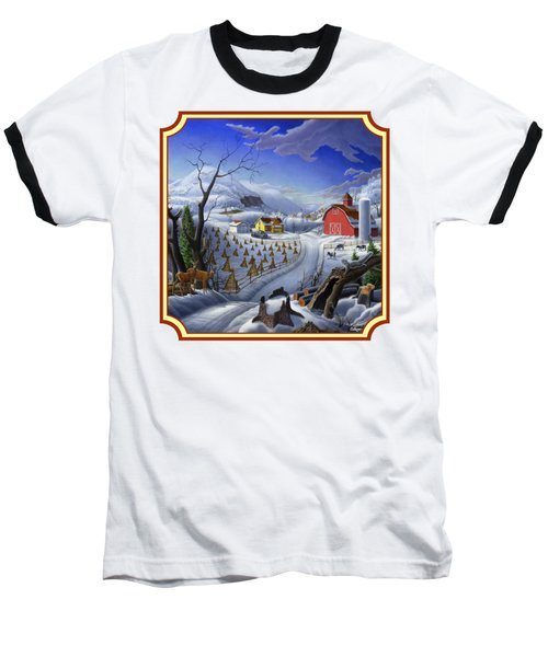 Rural Winter Country Farm Life Landscape - Square Format Baseball T-Shirt