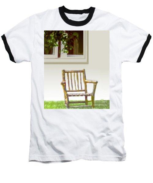Rustic Wooden Rocking Chair Baseball T-Shirt