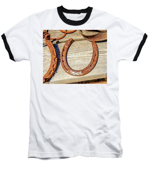 Baseball T-Shirt featuring the photograph Rusty Horseshoes Found By Curators Of The Ghost Town Of St. Elmo by Peter Ciro