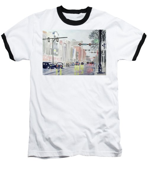 S. Main Street In Ann Arbor Michigan Baseball T-Shirt by Yoshiko Mishina