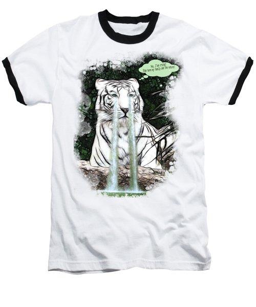 Sad White Tiger Typography Baseball T-Shirt by Georgeta Blanaru