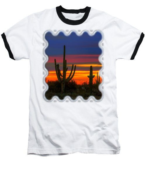Saguaro Sunset V30 Baseball T-Shirt by Mark Myhaver