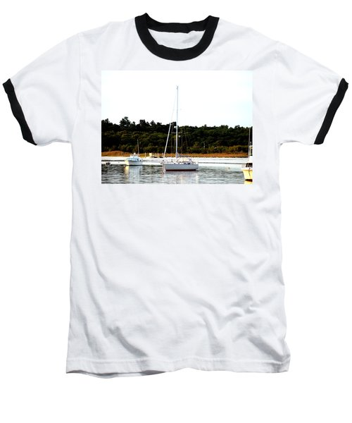 Sail Boat At Anchor  Baseball T-Shirt