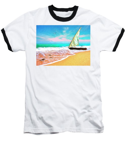 Sail Boat On The Shore Baseball T-Shirt