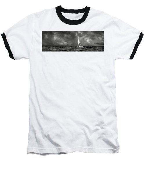 Sailing The Wine Dark Sea In Black And White Baseball T-Shirt