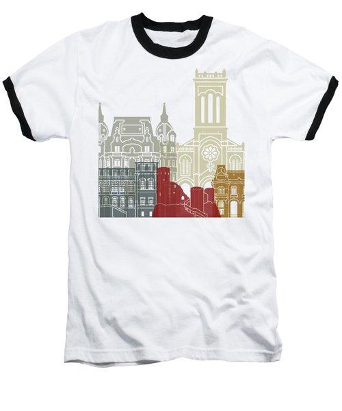 Saint Etienne Skyline Poster Baseball T-Shirt by Pablo Romero