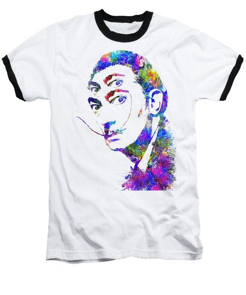 Salvador Dali Watercolor Digital Portrait Optic Illusion 2 Baseball T-Shirt