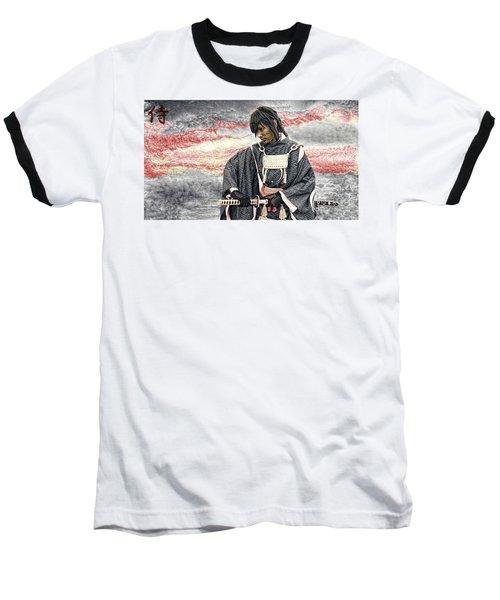 Samurai Warrior Baseball T-Shirt by Ian Gledhill