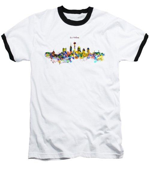 San Antonio Skyline Silhouette Baseball T-Shirt