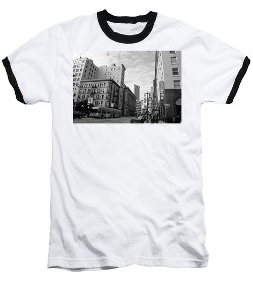 San Francisco - Jessie Street View - Black And White Baseball T-Shirt
