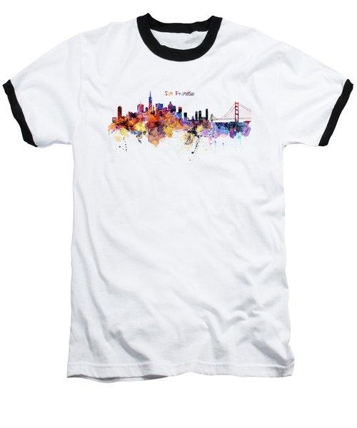 San Francisco Watercolor Skyline Baseball T-Shirt