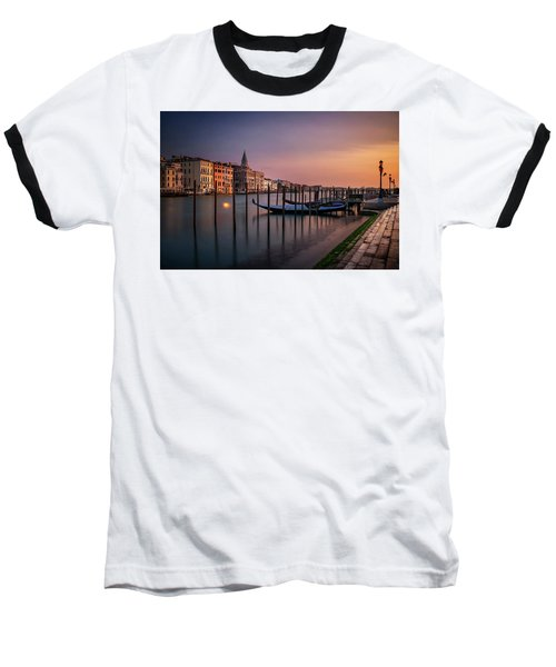 San Marco Campanile With Gondolas At Grand Canal During Calm Sunrise, Venice, Italy, Europe. Baseball T-Shirt