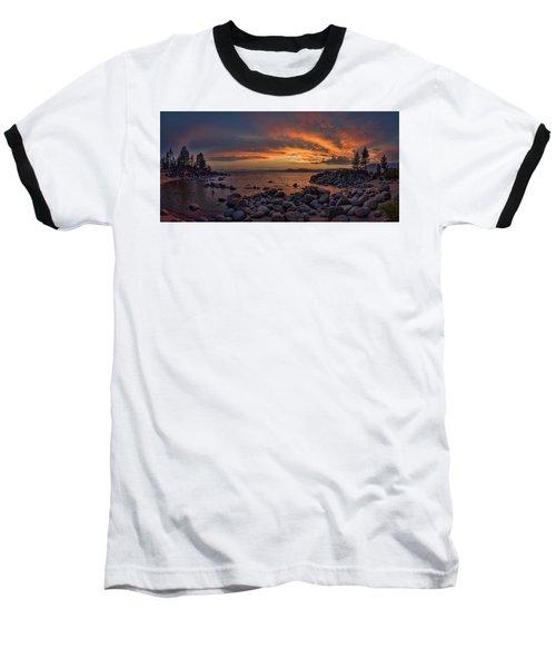 Sand Harbor Sunset Panorama Baseball T-Shirt