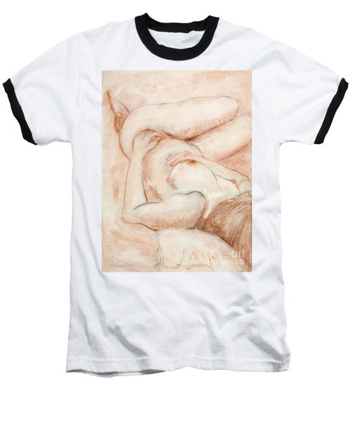 Baseball T-Shirt featuring the drawing Sanguine Nude by Kerryn Madsen-Pietsch